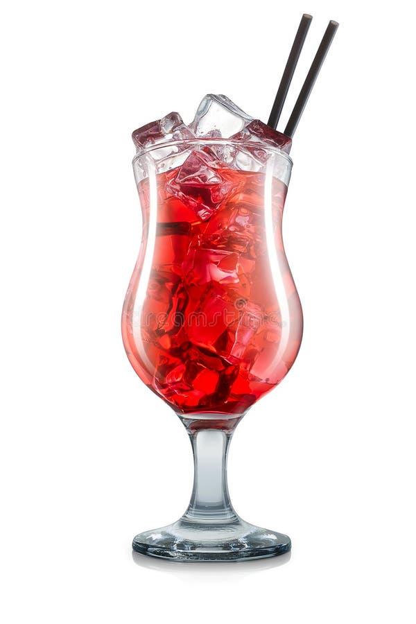 Cosmopolitan in hurricane glass on white stock images