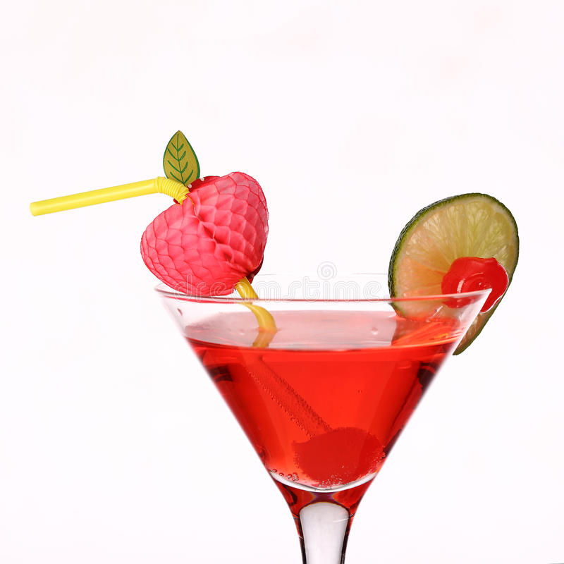 Cosmopolitan martini fresh Coctail isolated on white stock photography