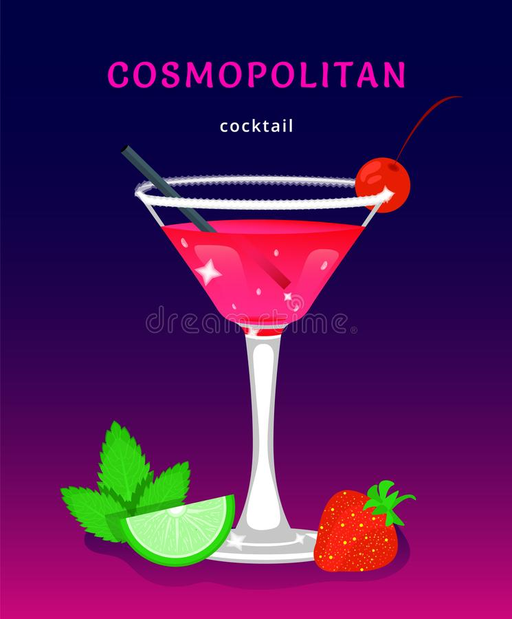 Tropical beach bar. Popular alcoholic cocktail. exotic tropical beach bar. fresh drink in glass cup with lime, mint. modern flat cartoon vector illustration vector illustration