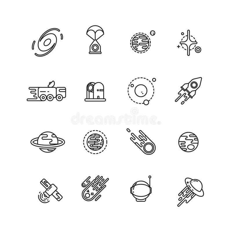 Cosmos, astronomy and astrology space line vector icons vector illustration