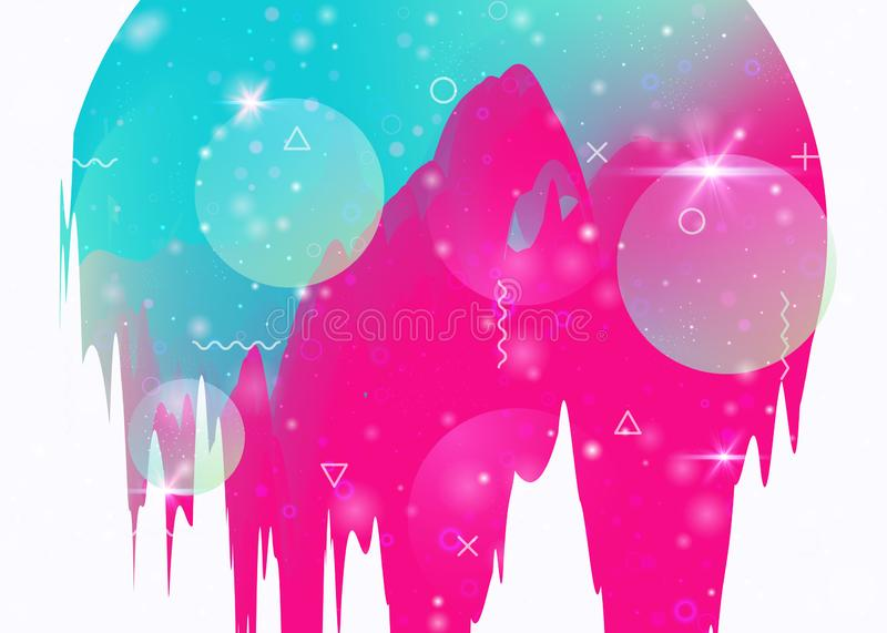 Cosmos background with abstract holographic landscape and future royalty free illustration