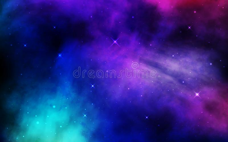 Cosmos background. Colorful space with stardust and shining stars. Bright nebula and milky way. Blue galaxy backdrop. Night starry sky. Universe banner. Vector vector illustration