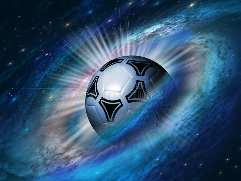 Cosmos background with a soccer ball royalty free illustration