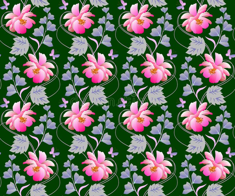 Cosmos and bell flowers garlands in watercolor style on dark green background. Seamless natural print for fabric, wallpaper. Summer romantic pattern vector illustration