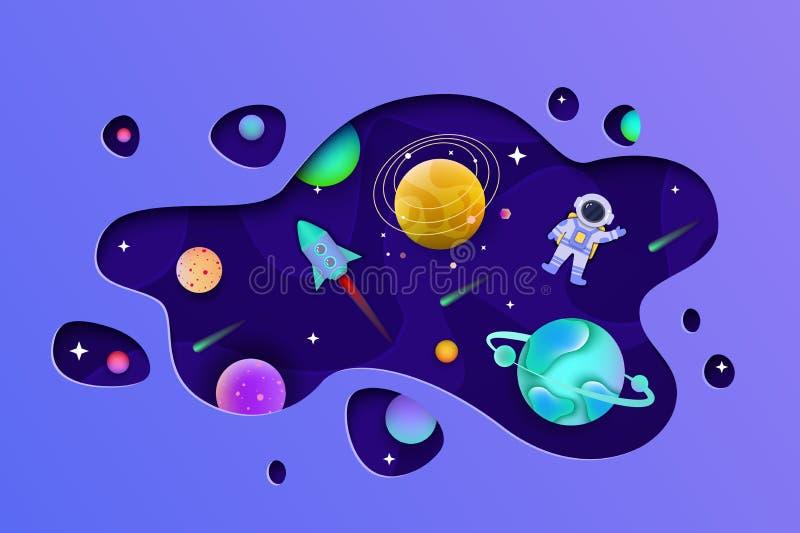 Cosmos con los planetas y el astronauta dentro de la forma cortados del estilo plano de papel stock de ilustración