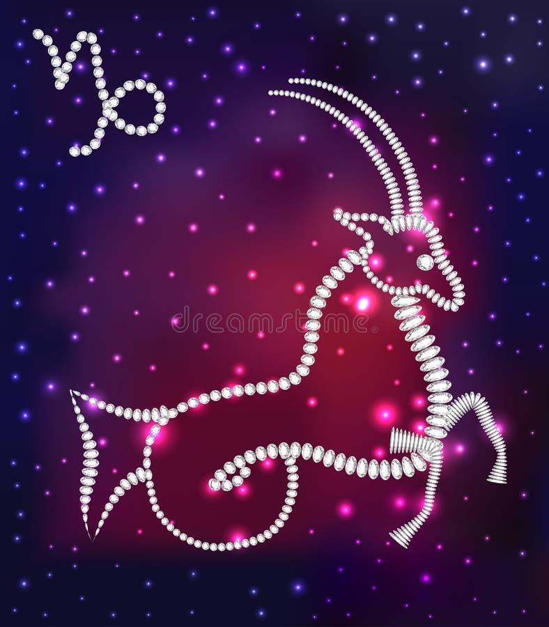 Cosmos des étoiles du Capricorne et des gemmes de constellation illustration stock