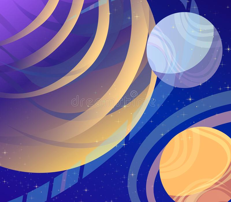Cosmos, futuristic vector art of fantasy of the future. Space, stars, planets overcoming space, interplanetary flights. vector illustration