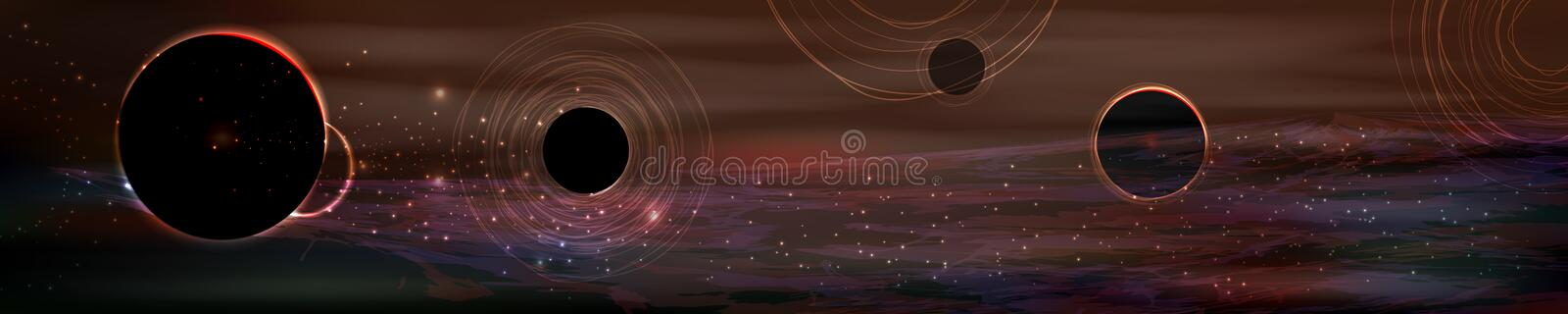 Cosmos panorama. long horizontal. Image of a large size. dark planets. black silhouettes vector illustration