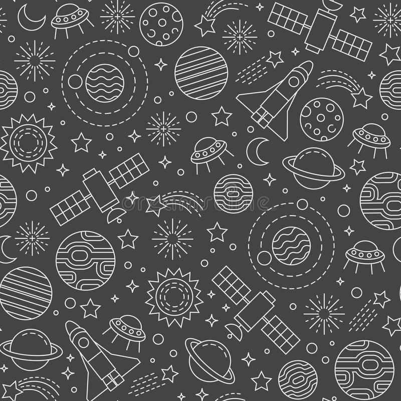 Cosmos pattern. Seamless pattern with cosmos design elements on black background royalty free illustration