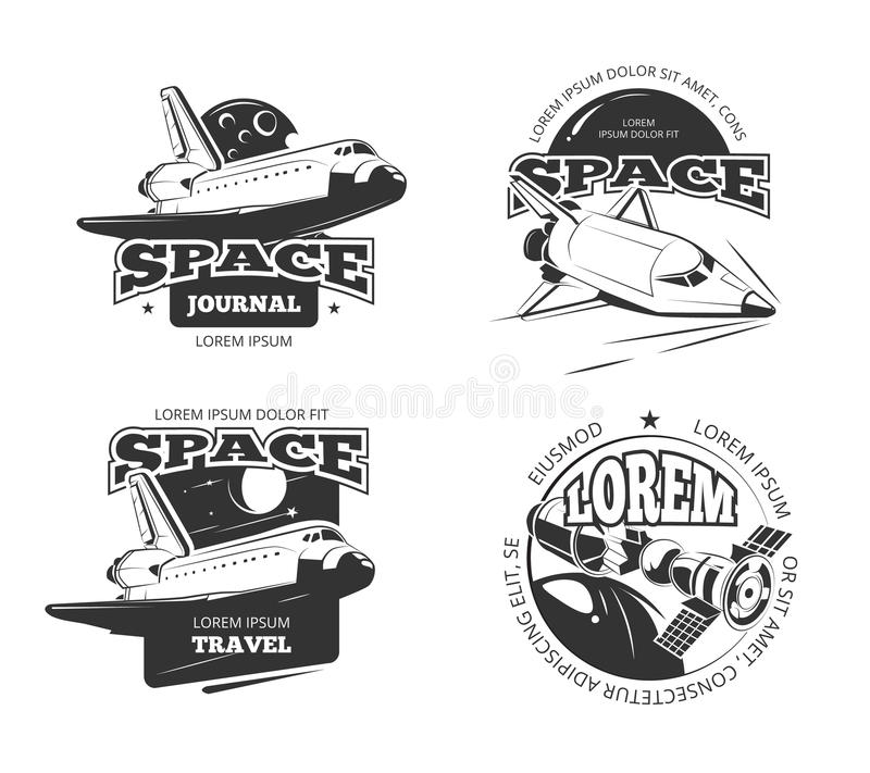 Cosmos, space astronaut badges, emblems and logos vector set. Label travel cosmos, science cosmos travel satellite, cosmos ship, space rocketship logo stock illustration