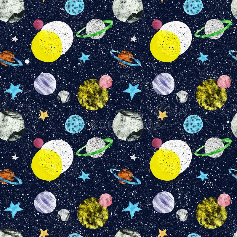 Cosmos and space seamless pattern, hand drawn illustration. Dark blue night sky background with stars and planets stock illustration