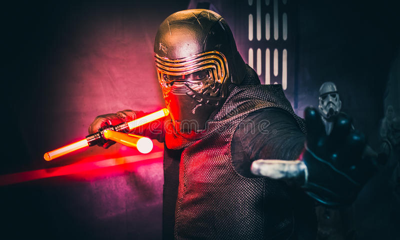 Cosplay as Kylo Ren from Star Wars. Sheffield, UK - June 03, 2017: Cosplayer dressed as `Kylo Ren` from the Star Wars series at the Yorkshire Cosplay Con at royalty free stock images
