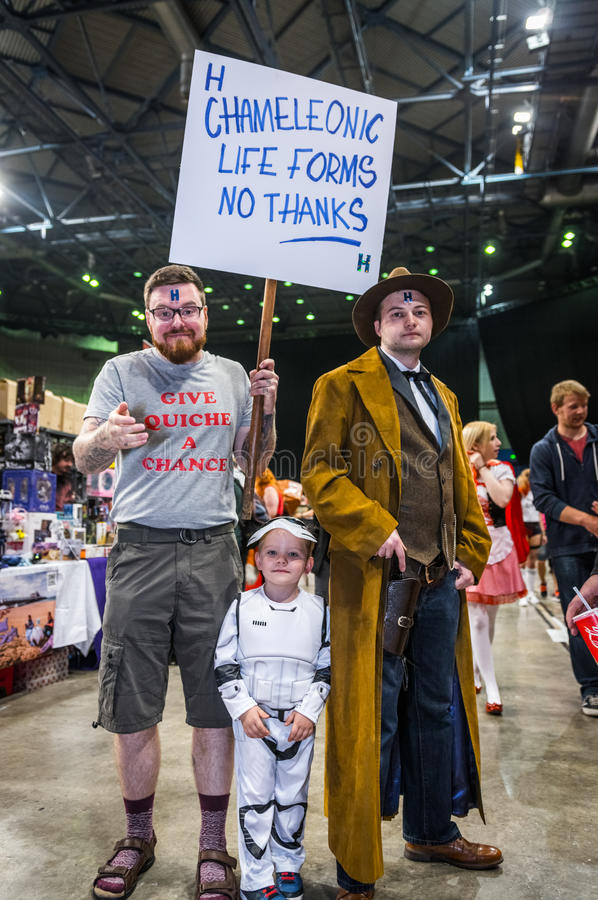 Cosplay as 'Rimmer' from 'Red Dwarf' and a stormtrooper from 'St. Sheffield, UK - June 11, 2016: Male cosplayers dressed as the character 'Rimmer' from the tv stock image
