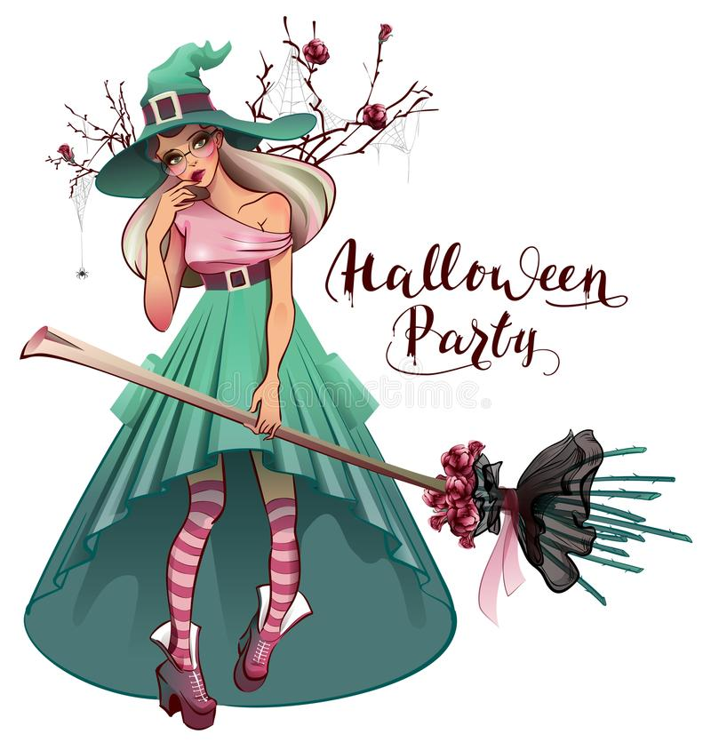 Cosplay fashionable dress for Halloween party. Beautiful young woman witch with broom. Isolated on white vector cartoon illustration greeting card royalty free illustration