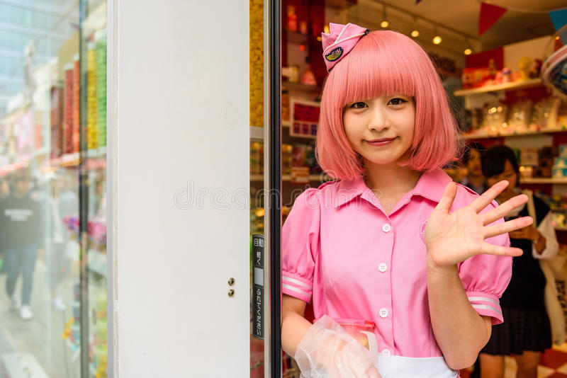 cosplay flicka i Harajuku, Japan royaltyfria bilder