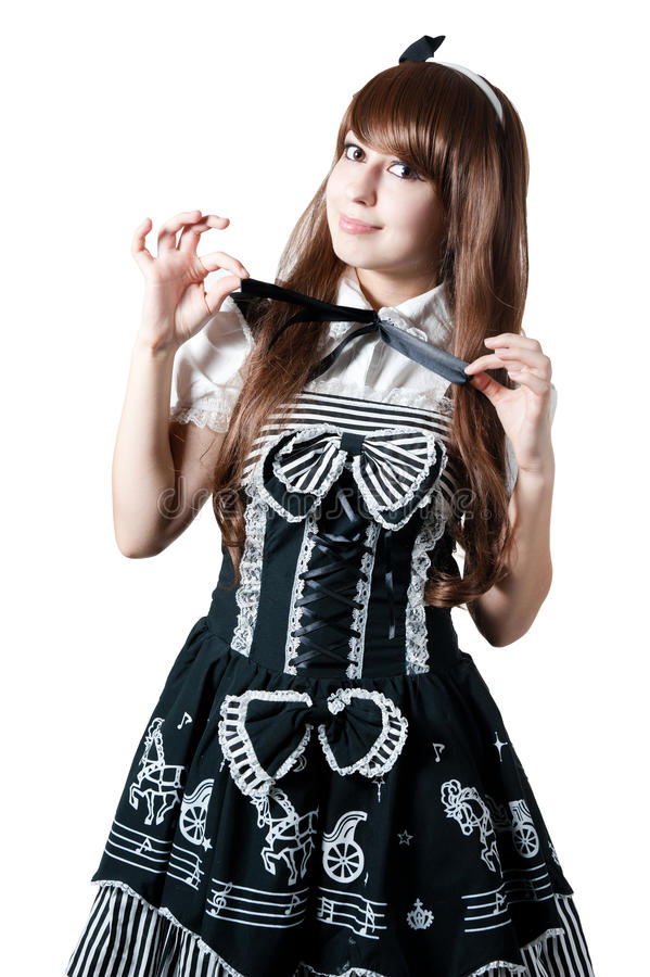 Cosplay girl in black dress stock images