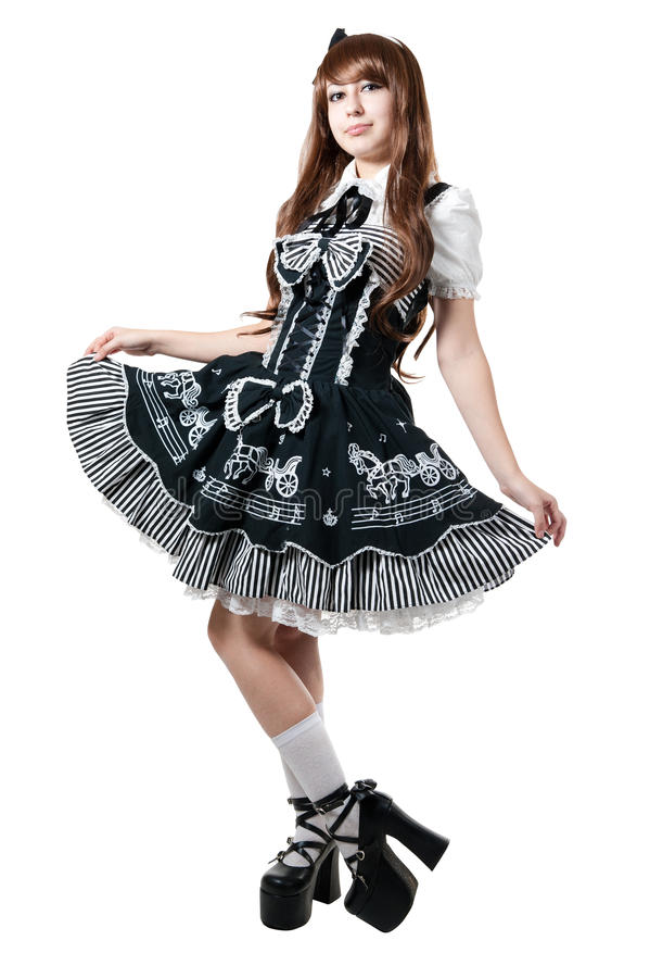 Cosplay girl in black dress royalty free stock photo