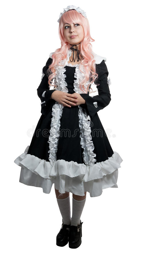 Download Cosplay Girl In Black Dress Stock Image - Image: 22090619