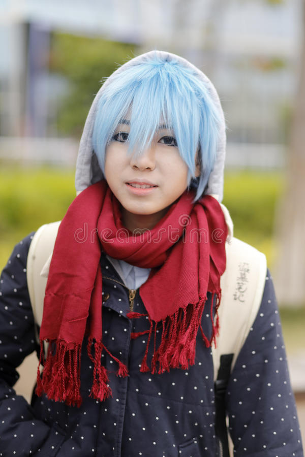 Cosplay girl with blue hair stock image