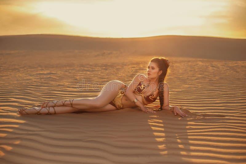 Cosplay Leia原则独奏从星际大战 库存照片
