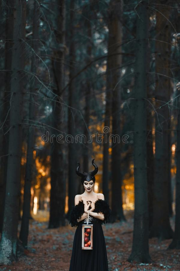 Free Cosplay On Maleficent. Mysterious Model Girl With Makeup And Costume For Halloween. Stylish Model Girl In The Image Of Stock Images - 160556994