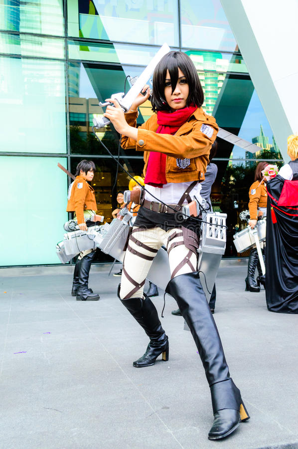 Cosplayer as characters Mikasa Ackerman from Attac. Bangkok - May 25 : Cosplayer as characters Mikasa Ackerman from Attack on Titan in Oishi World Cosplay royalty free stock photo