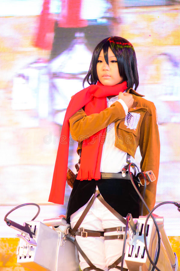 Cosplayer as characters Mikasa Ackerman from Attack on Titan. Bangkok - May 25 : Cosplayer as characters Mikasa Ackerman from Attack on Titan in Oishi World royalty free stock images