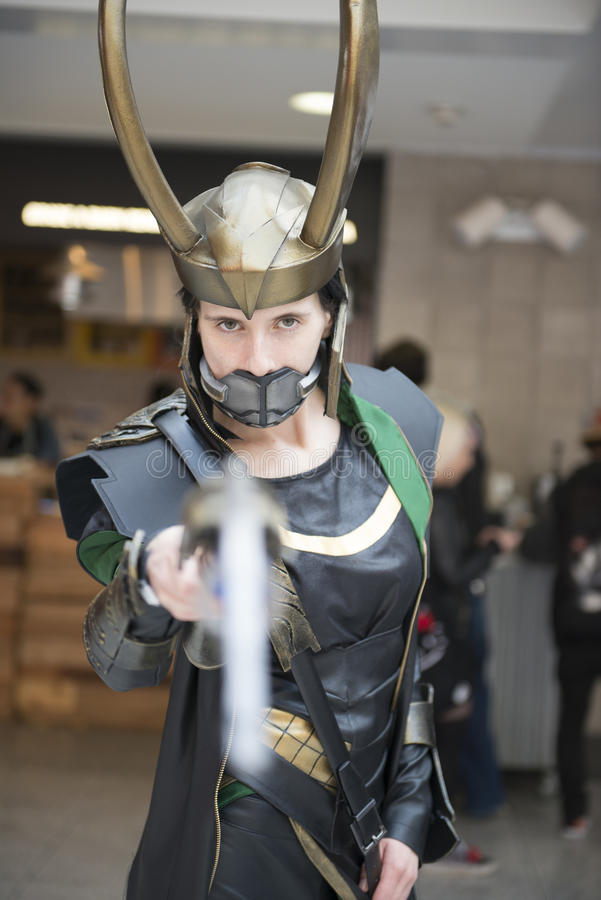 Cosplayer do Loki. fotografia de stock royalty free