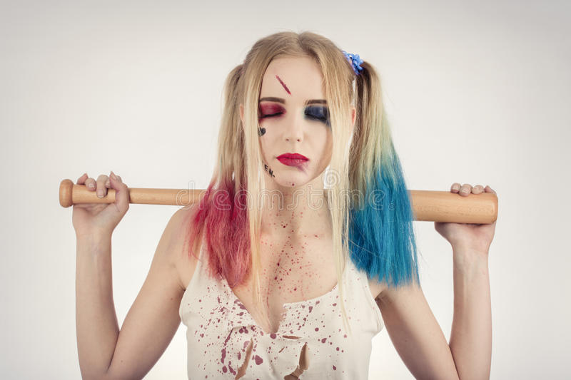 Cosplayer Harley Quinn foto de stock
