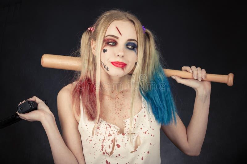 Cosplayer Harley Quinn lizenzfreies stockbild