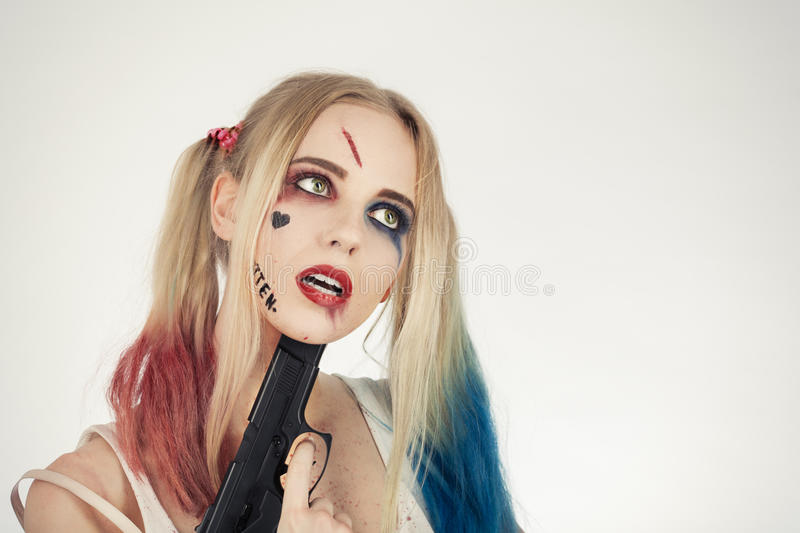 Cosplayer Harley Quinn images libres de droits