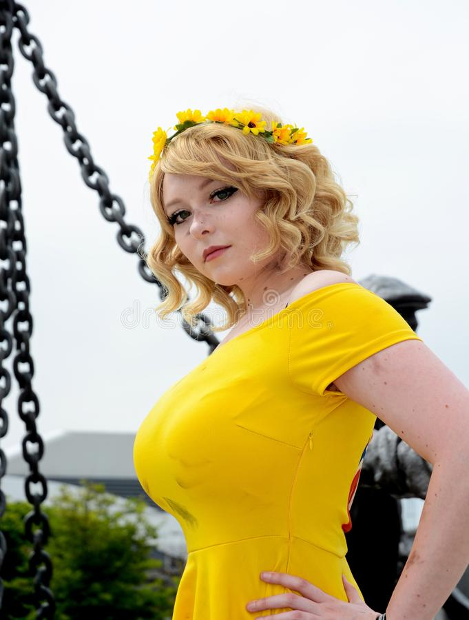 Sunflower Cindy role play cosplayer stock images