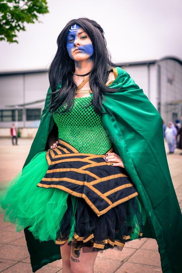 Cosplayer se vistió como ` del Loki del ` de los tebeos de la maravilla fotografía de archivo
