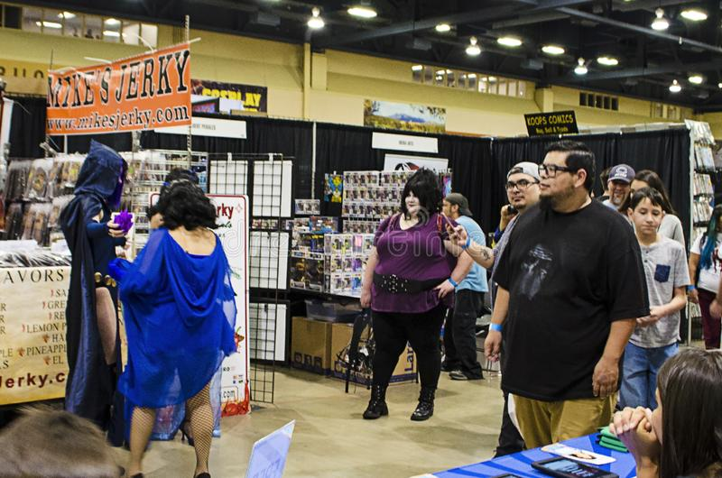Cosplayers and fans at the Comic Expo. Cosplayers and fans at the 2019 Comic Expo at the Albuquerque Convention Center in New Mexico royalty free stock photo