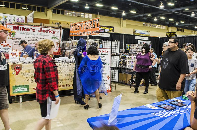 Cosplayers meet fans at the 2019 New Mexico Comic Expo. Cosplayers meet fans at the 2019 Comic Expo at the Albuquerque Convention Center in New Mexico royalty free stock image