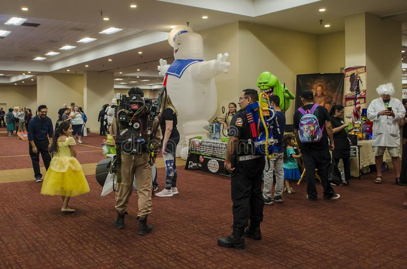 Cosplayers posing and performing at the Comic Expo. Cosplayers posing and performing at the 2019 Comic Expo at the Albuquerque Convention Center in New Mexico royalty free stock images