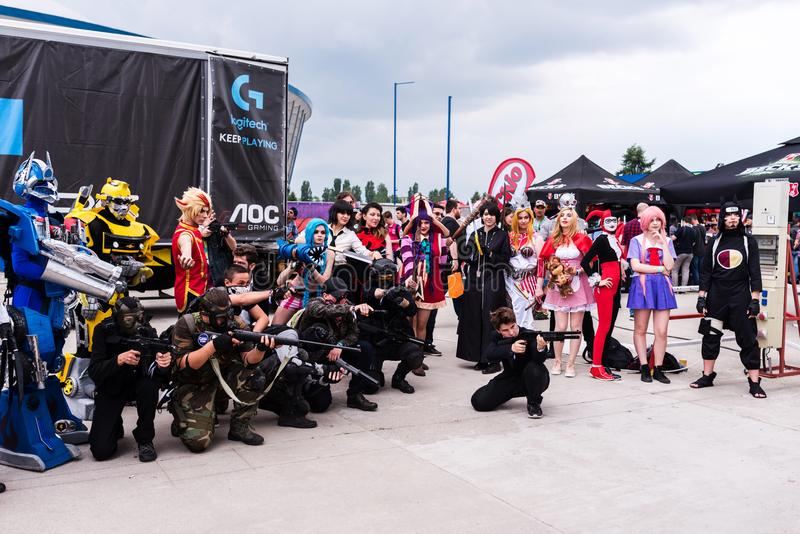 Cosplayers posing for photographers and press. At East European Comic Con, 2017, in Bucharest, Romania stock photography