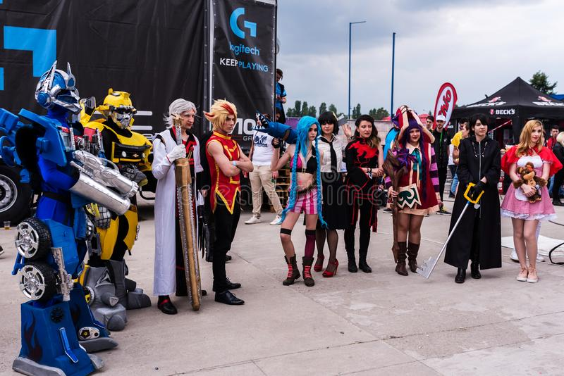 Cosplayers posing for photographers and press. At East European Comic Con, 2017, in Bucharest, Romania stock images