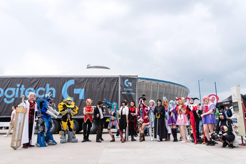 Cosplayers przy wschodem - europejski Komiczny przeciw 2017 zdjęcie royalty free