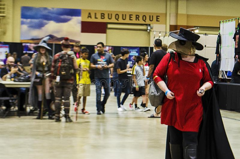 Cosplayers, visitors, fans and photographers intermingle at the Comic Expo. Cosplayers, visitors, fans and photographers intermingle at the 2019 Comic Expo at royalty free stock image
