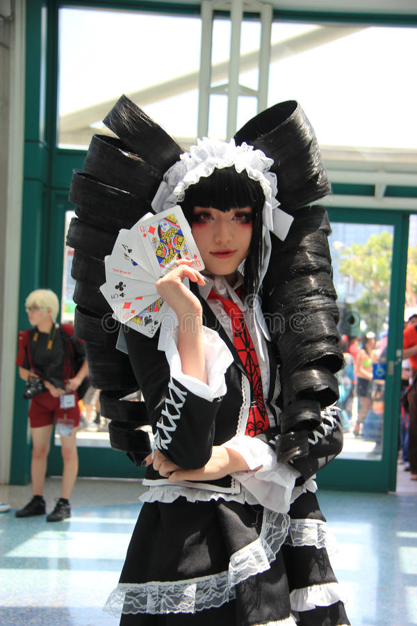 Cosplayers wearing costumes and fashion accessories at Anime Exp royalty free stock image