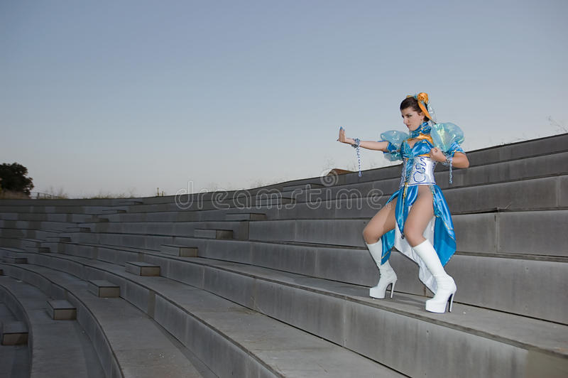 Cosplayers. Woman with dress for Cosplayers stock image