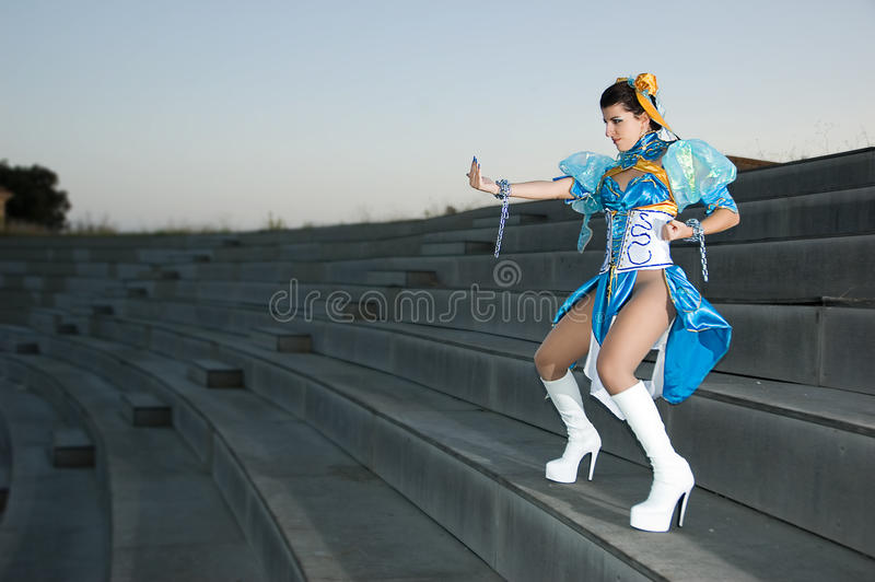 Cosplayers. Woman with dress for Cosplayers royalty free stock photography