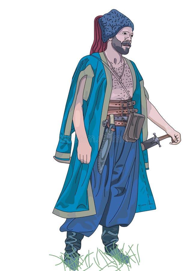 Cossack azul ilustración del vector