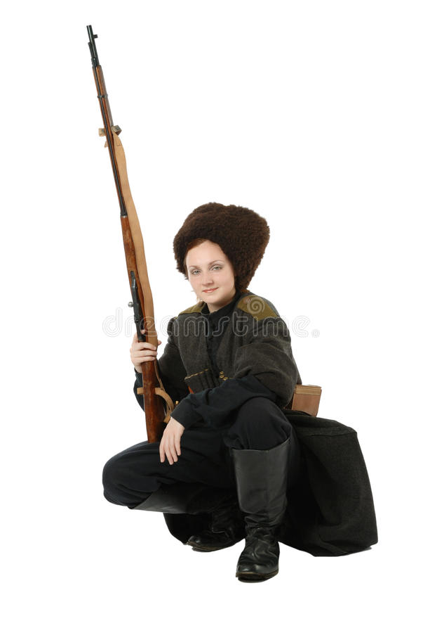 Cossack com o rifle na posição squatting. fotos de stock