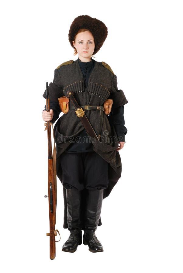 Cossack do russo que está na atenção. foto de stock royalty free