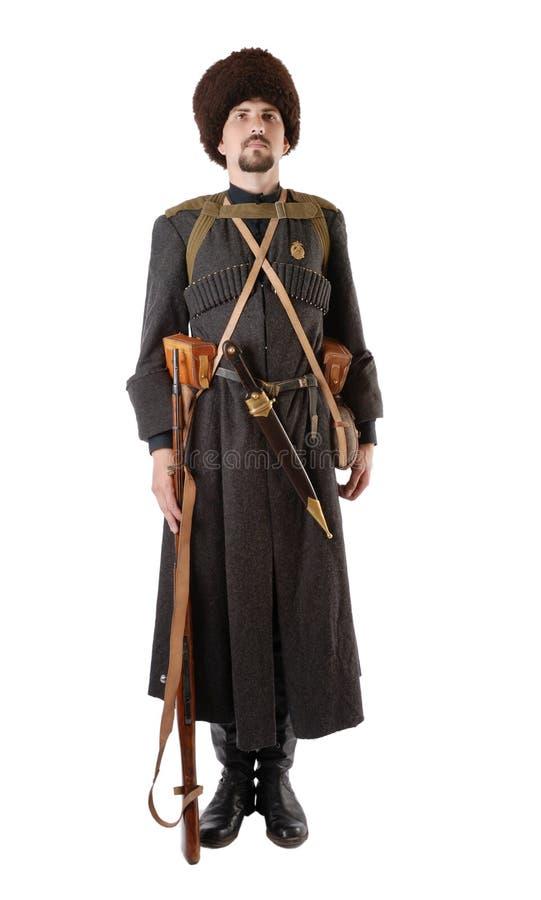 Cossack ruso que se coloca en la atención. imágenes de archivo libres de regalías