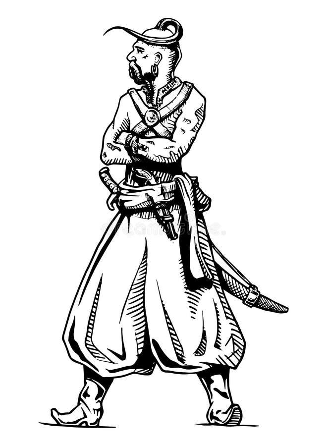 Cossaco de Zaporozhian ilustração royalty free