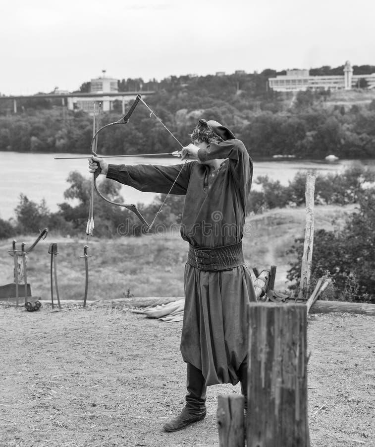 Cossaco ucraniano em Zaporozhian Sich Ilha de Khortytsia, Ucrânia imagem de stock