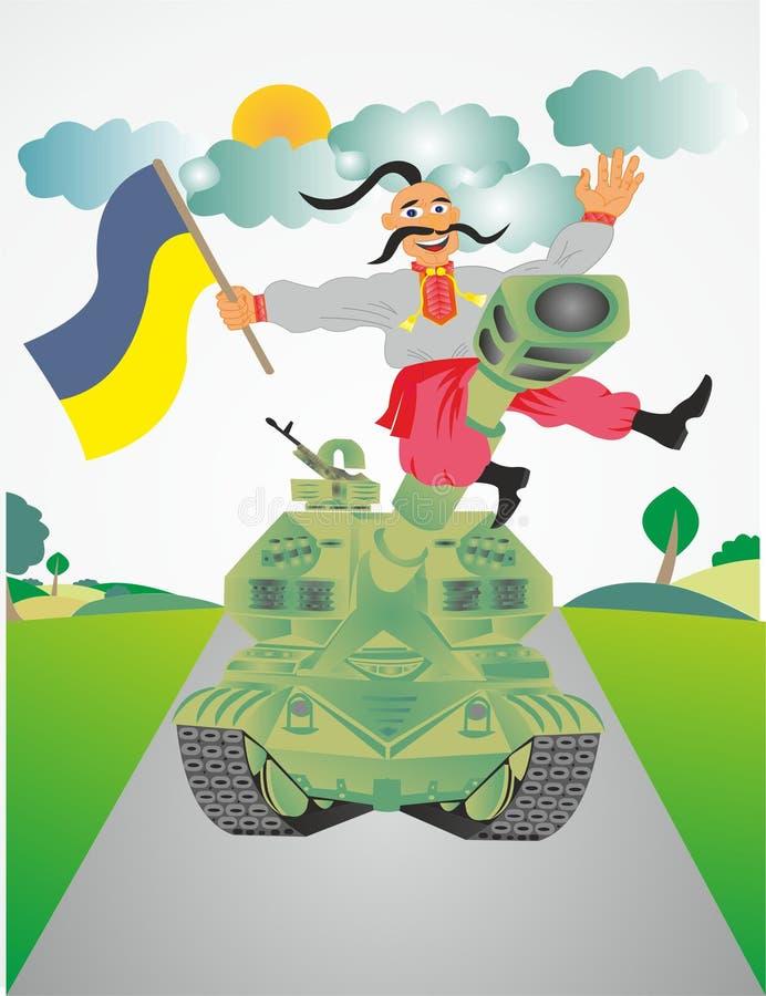 Cossaco ucraniano no tanque ilustração royalty free